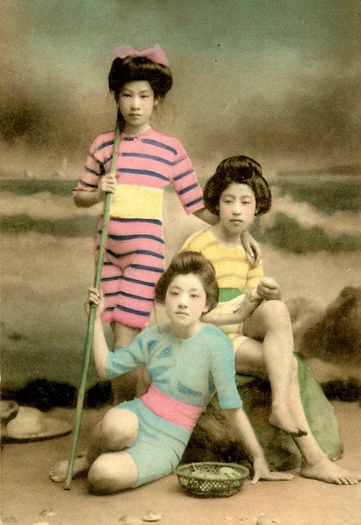 Meiji Era Geishas as Bathing Beauties, c.1900
