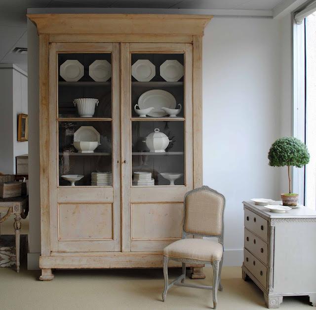 cream ware + vitrine cabinet