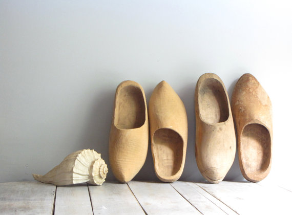 antique wooden clogs his & hers by wretchedshekels on Etsy