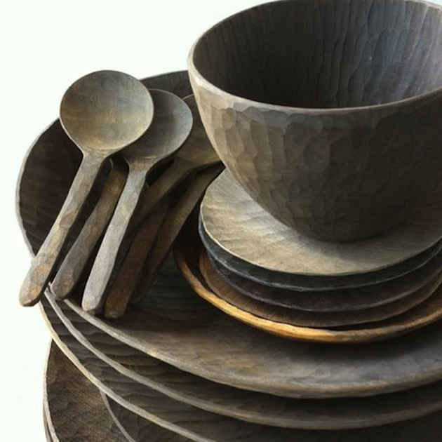 wooden tableware by Masaaki Saito
