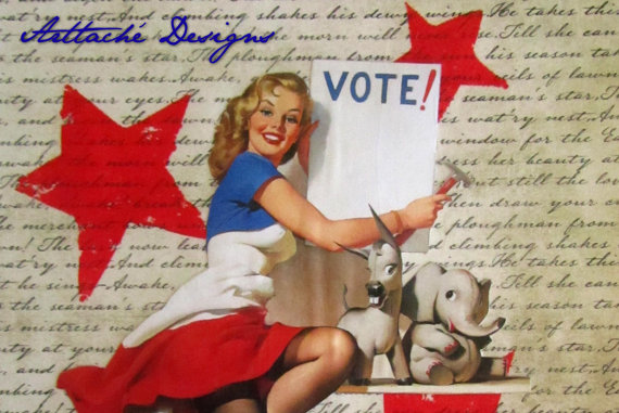 Voting Girl I PinUp wall art mixed media by ArttacheDesigns, etsy
